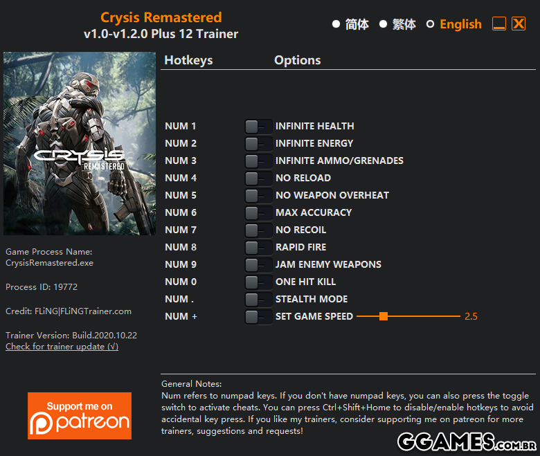 Trainer Crysis Remastered {FLiNG}